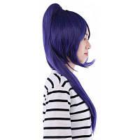 64СМ длинные полный парик с хвостиком синтетических волос аниме косплей Фиолетовый