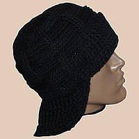Мужская вязаная зимняя шапка-ушанка черного цвета