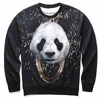 Свитшот с 3D-принтом панды с золотыми цепями S