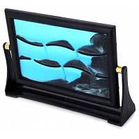 Прямоугольная песочная 3D-фоторамка настольный декор для дома Синий и чёрный