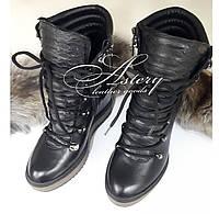 Женские черные ботинки на шнуровке из кожи с питоном