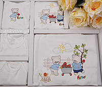 """Набор одежды из трикотажа """"Фермер"""", цвет бежевый с голубым."""