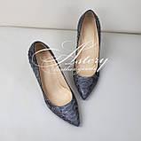 Женские серые туфли на шпильке из питона, фото 2