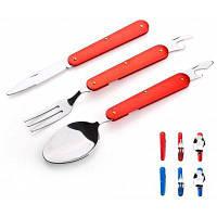 Набор посуды складной 3 предмета вилка / ложка / нож / открывачка Цветной