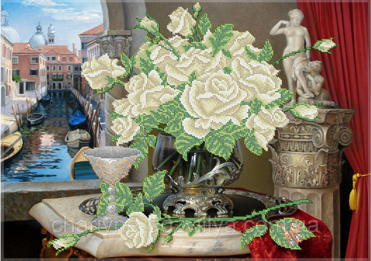"""Схема для вышивки бисером (бісером) на габардине """"Белые розы"""" (40х60см)"""