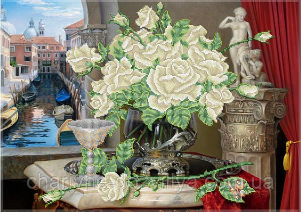 """Схема для вышивки бисером (бісером) на габардине """"Белые розы"""" (40х60см), фото 2"""