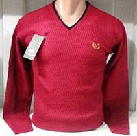 Свитер Мужской Красный с замшевыми латками Стильная мужская кофта по фигуре Турция