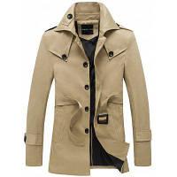 Однобортное пальто с отложным воротником и дизайном погон M