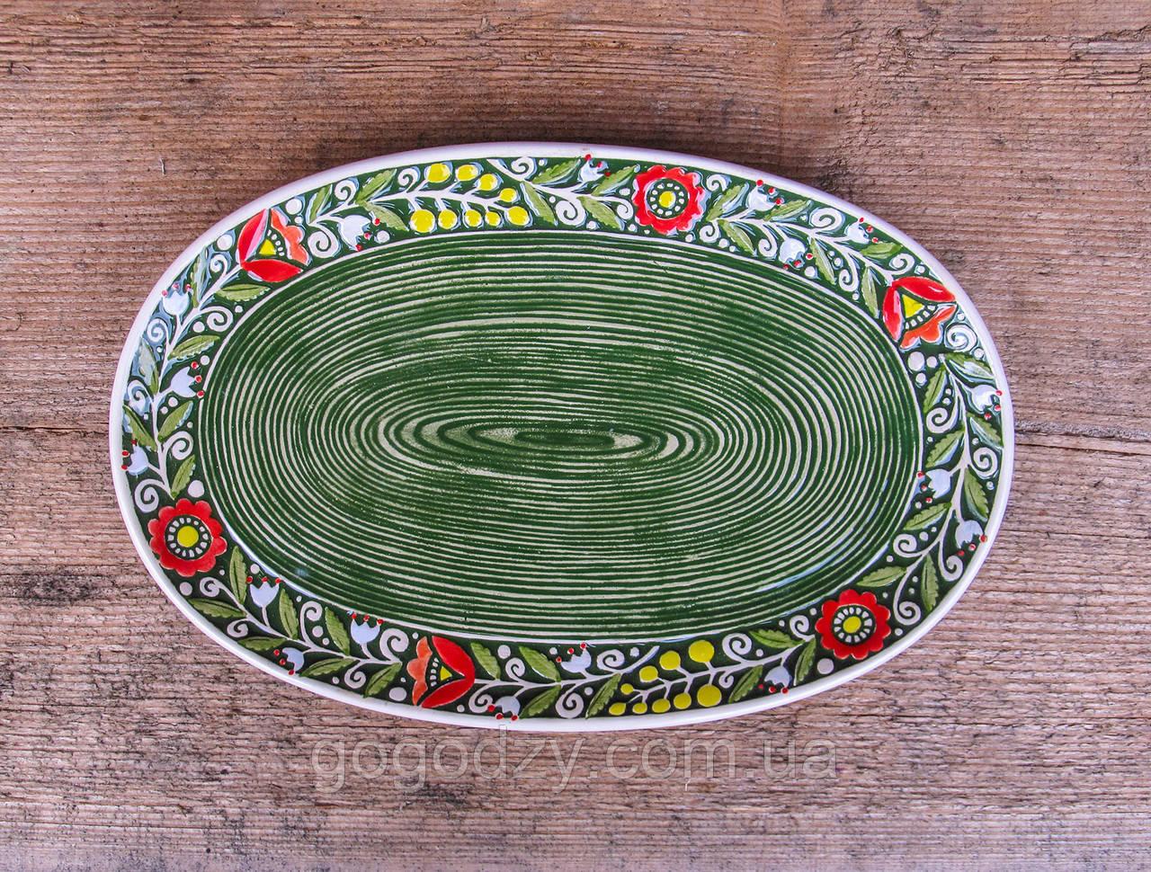 Блюдо овальне Вінок зелене