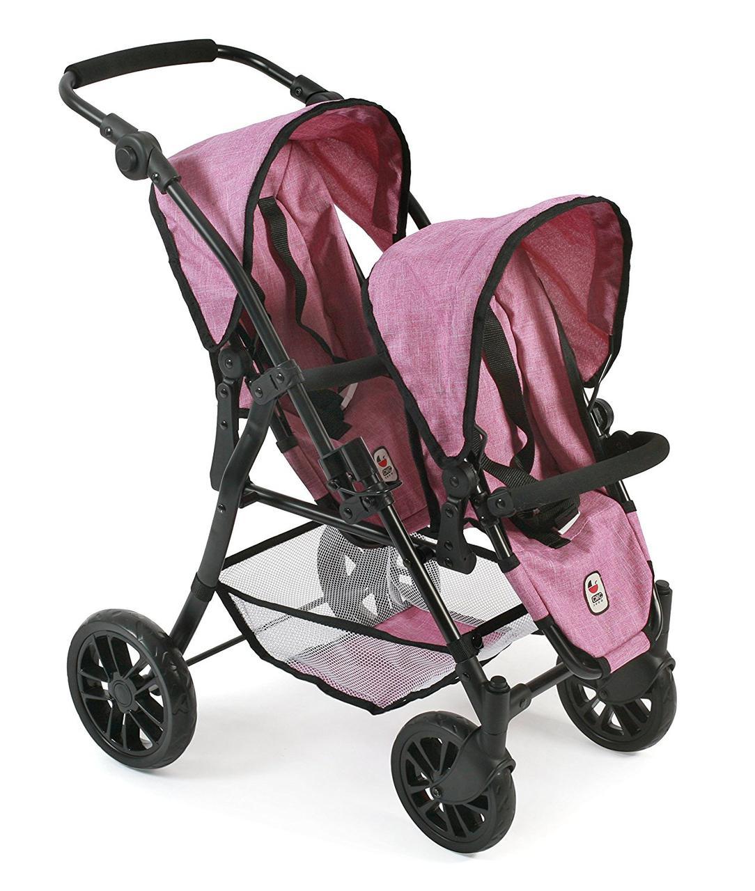 Коляска тандем для кукол для двойни розовая Байер Tandem Buggy Twinny Jeans Pink Bayer 69170