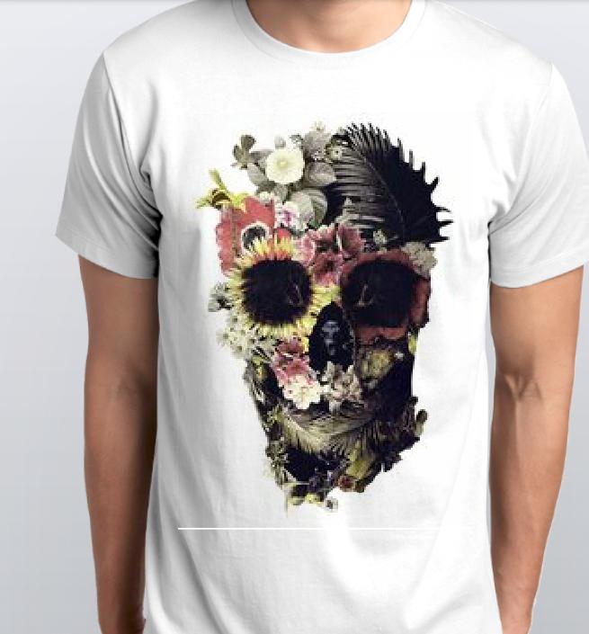 Футболка мужская череп в цветах