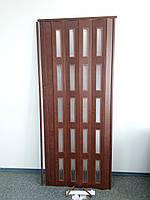 Дверь остекленная 860х2030х6мм  каштан 811 гармошка раздвижная
