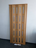 Двері засклені 860х2030х6мм яблуня 809 гармошка розсувна, фото 1