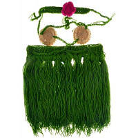 Детский вязаный костюм гавайской танцовщицы на фотосессию малышки Зелёный