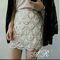 Женская шикарная юбка украшена паетками (2 цвета)