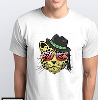 Футболки мужские. леопард в шляпе