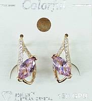 132 Бижутерия позолота- серьги под золото классика, серёжки Colorful (опт бижутерии в Одессе 7 км).