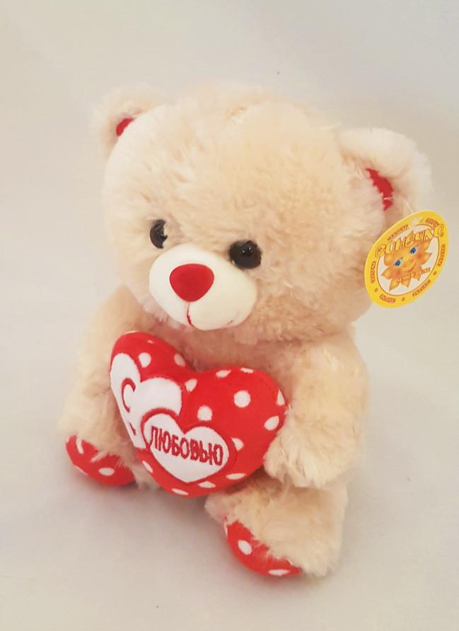 """Мягкая игрушка медведь музыкальный с сердцем """"я тебя люблю"""""""