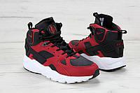 Кроссовки Nike Air Huarache - Original, черно - красные, материал - нубук, поошва - пенка
