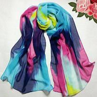 Яркий шифоновый шарф радужной расцветки Светло-синий