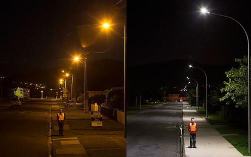 Оцените огромную разницу в качестве освещения лампами ДНАТ и ДРЛ и светодиодными уличными светильниками Maxus Combee Street