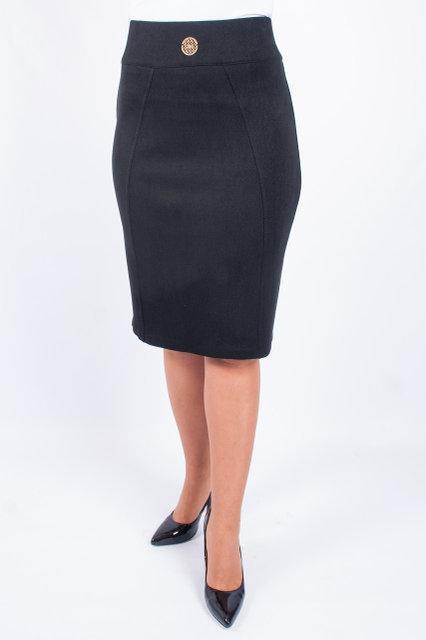 Классическая черная юбка-карандаш средней посадки