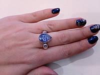 """Кольцо агат """"вены дракона"""" в серебре. Кольцо с агатом. Размер 17,5-18 Индия!, фото 1"""