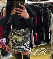 Женская яркая юбка мини с паетками (2 цвета), фото 1