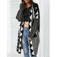 Объемное вязаное шерстяное пальто с геометрическим узором один размер