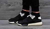 Кроссовки мужские летние Fashion Mato текстильные кросовки с ортопедической стелькой черные с бежевой подошвой