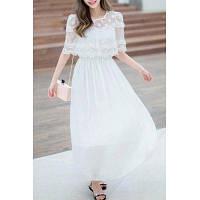 Нежное белоснежное шифоновое платье с кружевным верхом XL