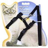 Регулируемый мягкий нейлоновый поводок для выгула кошки Чёрный