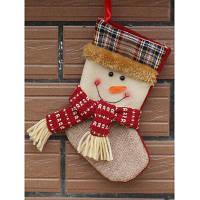 Рождественская елка висячие украшения Снеговик Представить чулок Носок Белый
