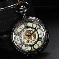 Ретро Выдалбливают флип автоматические механические карманные часы с светящимся циферблатом Чёрный