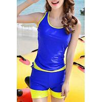 Активный без рукавов Хит Цвет оболочки верхней части бака и шорты Twinset Купальники для женщин 4XL