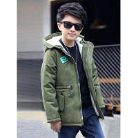 Куртка-пуховик с капюшоном для мальчика и рисунком звезды с надписями 140