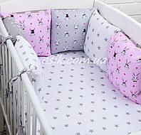 """Бортики-подушки и простынь """"Кролики"""", цвет розовый с серым."""