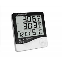HTC-2 Цифровой Будильник с измерителем температуры и влажности Чёрный