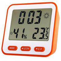 BK 854 Цифровой измеритель Температуры Влажности и Будильник Оранжевый