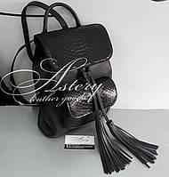 Женский черный кожаный рюкзак с питоном