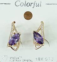133 Бижутерия пол золото- серьги позолота классика, серёжки Colorful (опт бижутерии в Одессе 7 км).