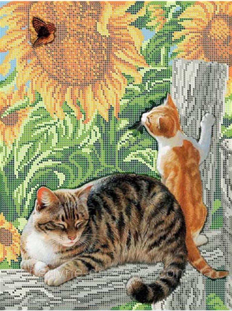 """Схема для вышивки бисером (бісером) на габардине """"Коты и бабочки"""""""