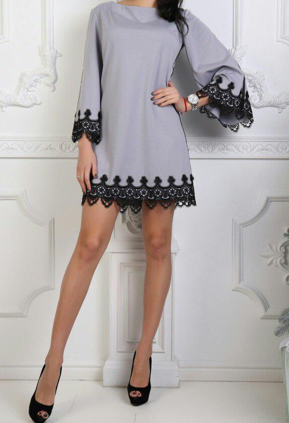 674476ec4c4 Платье трикотажное с кружевной отделкой женское  продажа