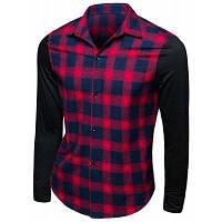 Модный воротник отложной Шотландка Печать с длинным рукавом Мужская рубашка 2XL