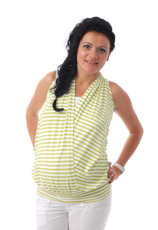 Туника на бретелях для беременных и кормящих мам ДЕЛОВАЯ МАМА (салатовая, размер L)