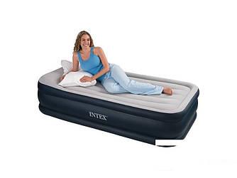 Надувная флокированная кровать матрас Intex 64132, серая Ліжко