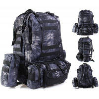 Тактический рюкзак на 60Л комбинированного типа рисунок черный питон