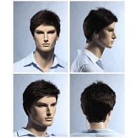 Короткие Pixie Cut Пушистый Прямой синтетический парик Мужчины Коричневый