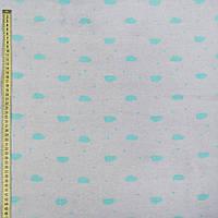 242257492 - Флис серый светлый в бирюзовые овалы, ш.168