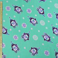 242207492 - Флис бирюзовый, пингвины и снежинки, ш.170
